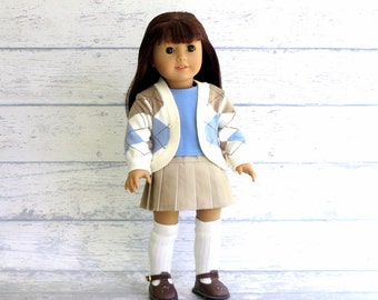 Prep School Outfit, American Girl Doll Clothes, Pleated Skirt, Cardigan Sweater, Tee Shirt, Knee Socks