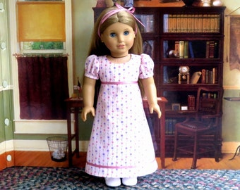 Regency Doll Dress 18 inch Doll Clothes Caroline Dress and Ribbon Hairbow
