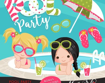 Pool Party Clipart for Girls. Little girls with pool party banner, flip flops, fruit drinks, sunglasses, umbrella and pool summer cliparts