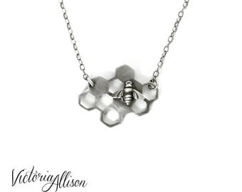 Handmade Sterling Silver Bee and Honeycomb Necklace, Geometric, Hexagon, Beekeeper, Modern, Bee Jewelry - Style 2 - Ready to Ship
