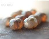 WARM HONEY OPALS .. 10 Premium Picasso Czech Glass Beads 6x8mm (08-10)