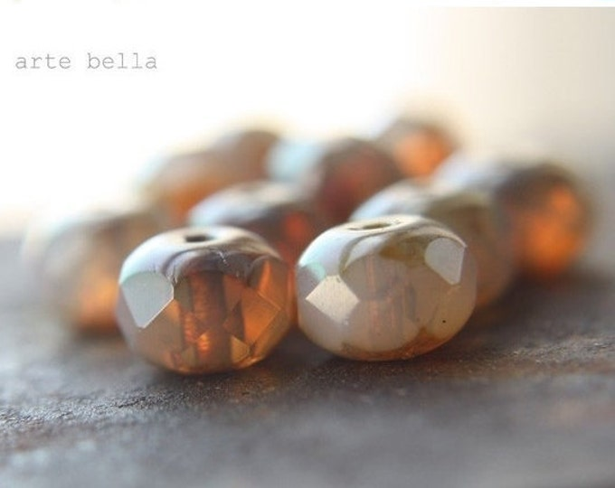 WARM HONEY OPALS .. 10 Premium Picasso Czech Glass Beads 6x8mm (08-10)