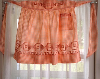Vintage Gingham Half Apron with Hand Embroidered Cross Stitch Details