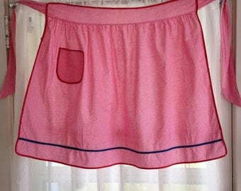 Vintage Gingham Half Apron / Red with Blue Accent