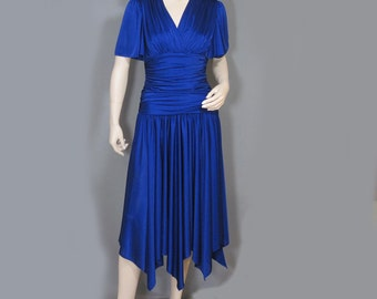 Vintage Dress late 70s Royal Blue Disco Handkerchief Hem Flutter Sleeve Shirred Shimmery S M
