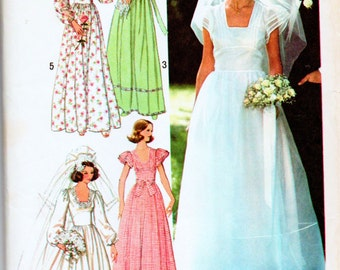 Vintage Simplicity 7886 Misses Wedding Bridal Gown and Brides Maids Dresses Sewing Pattern Size 8 Bust 31.5 Used