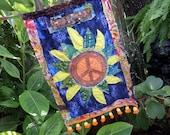 Peace flag, prayer flag, hippie wedding, birth flag, hippie deco, wedding flag, batik flag,  D06, Hippie festival, gypsy, boho wedding