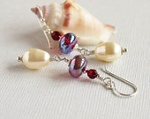 Red Earrings, Ivory Pearl Earrings, Lampwork Earrrings, Swarovski, Sterling Silver  - ROMANCE