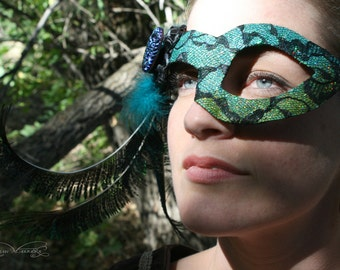 Sheba - Asymmetrical Flapper Masquerade Mask with Pheasant and Peacock Feathers and Czech Glass Button