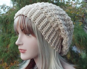 Vanilla Cream Crochet Hat, Womens Slouchy Beanie, Slouchy Hat, Oversized Slouch Beanie, Chunky Hat, Winter Hat, Beige Slouch Hat