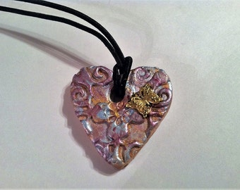 Aromatherapy Essential Oil Jewelry Diffuser Clay Necklace - Pearlized Butterfly Old World Style