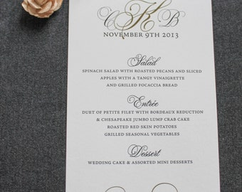 Vintage Wedding Menu - Black and Champagne Gold Formal Menu - Traditional, Classic, Formal - Custom - Cristin and Brian