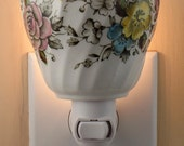 Fine White China With Pink, Yellow and Blue Floral Pattern Tea Cup Night Light No Handle