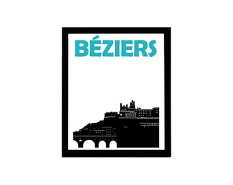 Béziers Print // Béziers Art // French Print / Béziers Poster / French Art / French Poster / Art Print France / Affiche France / French Gift