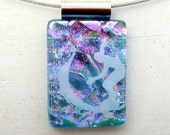 Surfer Jewelry | Fused Glass Pendant | Ocean Wave Art | Beach Necklace | Surfer Gift Idea | Sea Art | Blue Pink Purple