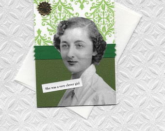 Quirky Green Note Card for Very Clever Girls