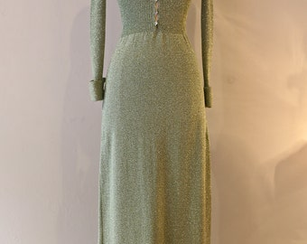 Vintage 1970s Metallic Knit Evening Gown ~ Sexy Vintage 70s Knit Dress in Celadon Green Sparkles With Plunging Neckline