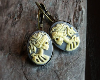 Skeleton cameo earrings, grey antique brass earrings, Halloween earrings, Halloween jewelry, gift ideas for her, unique holiday gift