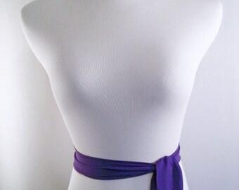 Wedding Sash - Royal Purple Chiffon Sash - Long Sash Belt Tie - Squared Ends