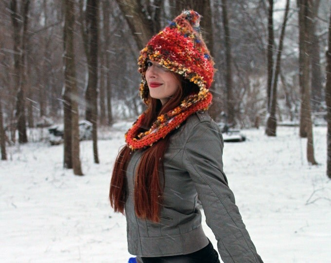 Orange Blend Crochet Hooded Scarf Hat Handmade Unique One of a Kind Gift for Her