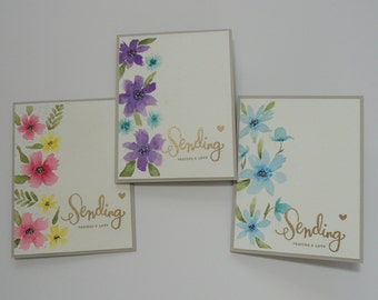 Set of Three Hand Painted Floral Cards