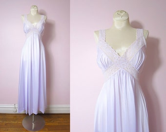 Vintage Pale Lilac Nylon Gown Nightgown S/M