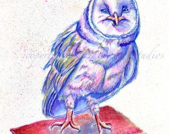 Happy Book Owl 8x10 Print