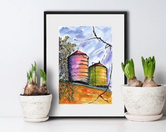 Art Painting Watercolor NYC  Urban City Rooftop  Water Towers  Print