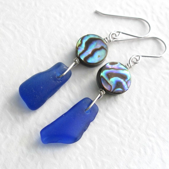 Cobalt Sea Glass Earrings, Green Abalone Shell, Blue Beach Glass Jewelry