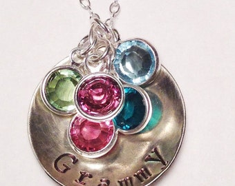 Grandmother's Necklace, Personalized Birthstone Family Necklace, Hand Stamped Jewelry, Mother's Necklace