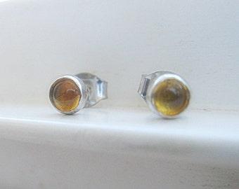 Citrine Post Earrings in Sterling Silver