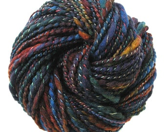 Handspun Yarn Hand Dyed  BFL Wool Bulky Yarn - Night Owl
