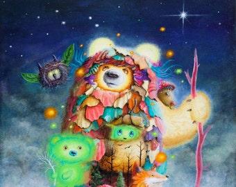 Pop Surrealism Painting - Artwork - Art - Fox - Surreal - Fine Art - Prints - Psychedelic