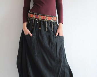 Bubble Skirt...Hemp mix cotton Maroon Red M,L