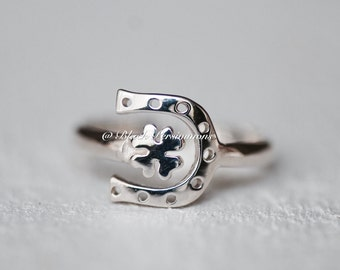 Sterling Silver Lucky Clover and Horseshoe Ring - Auspicious Feng Shui Good Luck Symbol - Insurance Included