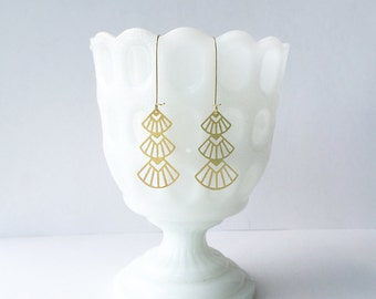Art Deco Triangles Stacked Earrings | ATL-E-122