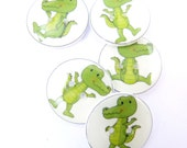 """5 Alligator or Crocodile Buttons.  5 Handmade Buttons for Sewing.  3/4"""" or 20 mm."""