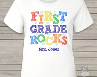 Back to school TEACHER shirt - first grade or any grade rocks colorful adult shirt  MSCL-020