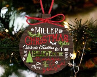 Family personalized Christmas ornament - keepsake family ornament FCO