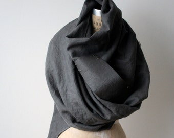 Men's Gray Scarf Women's Linen Leather Shawls and Wraps, winter fashion accessories