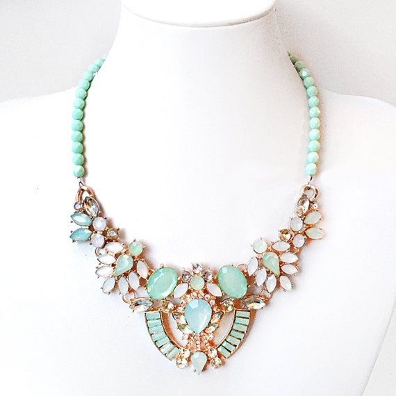 mint green statement necklace chunky gold necklace beaded