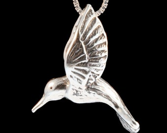 Hummingbird Necklace Hummingbird Jewelry - Large Silver Hummingbird Pendant - Bird Necklace Bird Charm Bird Jewelry