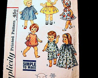 1960s Doll Clothes Pattern for 18 inch Dolls such as Suzie Sunshine Chatty Cathy Vintage Sewing Pattern Simple to Sew