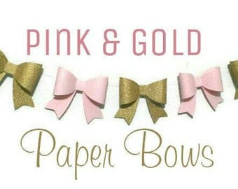 Pink and Gold Bows, Handcrafted, Paper Bow Garland, Modern Nursery, Baby Shower Decor