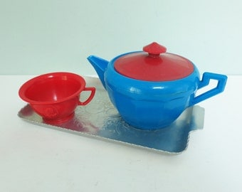 Red & Blue Plasco Teapot, Red Teacup and Tiny Hammered Aluminum Serving Tray, Toy Tea Set Play Dishes