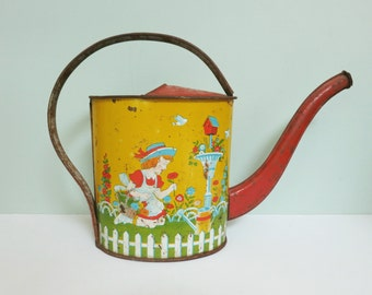 1940s J. Chein Tin Toy Watering Can, Charming Litho of Girl Picking Flowers in her Garden, Picket Fence, Blue Birds, Birdhouse