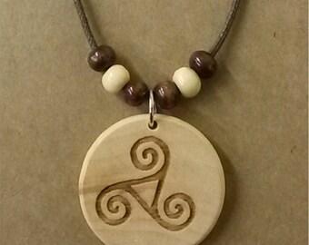 Triple Spiral Laser Engraved Wood Necklace