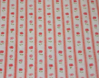 Vintage Twin Fitted Sheet, Rose Ticking, Vintage Ticking Sheet, Red Rose Sheet, Pink Rose Sheet, Fitted Sheet, Vintage Rose Sheet