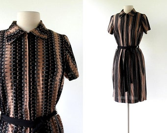 60s Mod Dress / Electro Stripe Dress / 1960s Dress / Large L