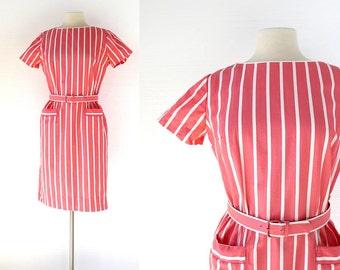 1960s Pink Dress / Cabana Stripe Dress / 60s Dress / Medium M